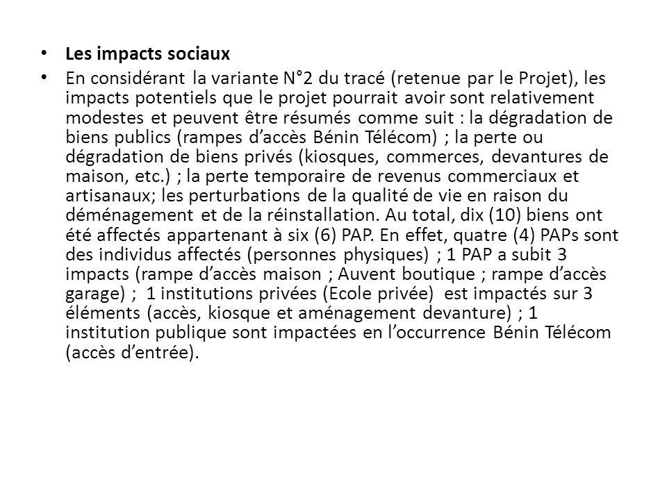 Les impacts sociaux En considérant la variante N°2 du tracé (retenue par le Projet), les impacts potentiels que le projet pourrait avoir sont relative