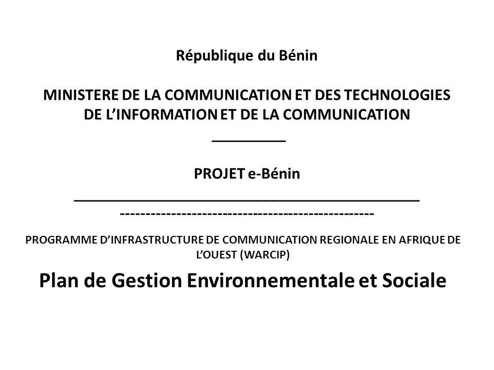 République du Bénin MINISTERE DE LA COMMUNICATION ET DES TECHNOLOGIES DE LINFORMATION ET DE LA COMMUNICATION _________ PROJET e-Bénin ________________