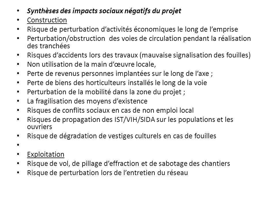 Synthèses des impacts sociaux négatifs du projet Construction Risque de perturbation dactivités économiques le long de lemprise Perturbation/obstructi