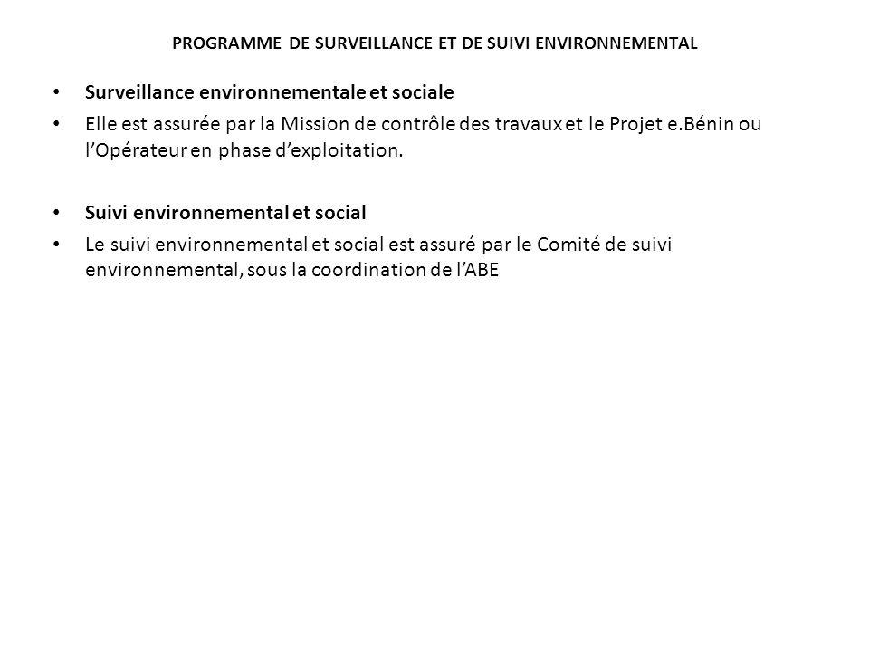 PROGRAMME DE SURVEILLANCE ET DE SUIVI ENVIRONNEMENTAL Surveillance environnementale et sociale Elle est assurée par la Mission de contrôle des travaux