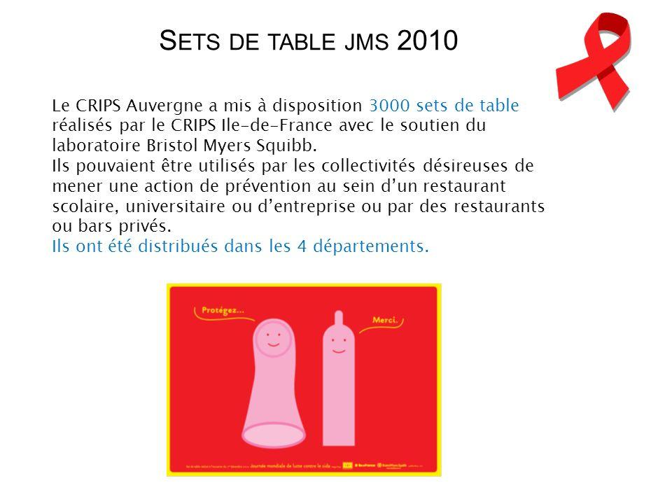 Le CRIPS Auvergne a mis à disposition 3000 sets de table réalisés par le CRIPS Ile-de-France avec le soutien du laboratoire Bristol Myers Squibb. Ils