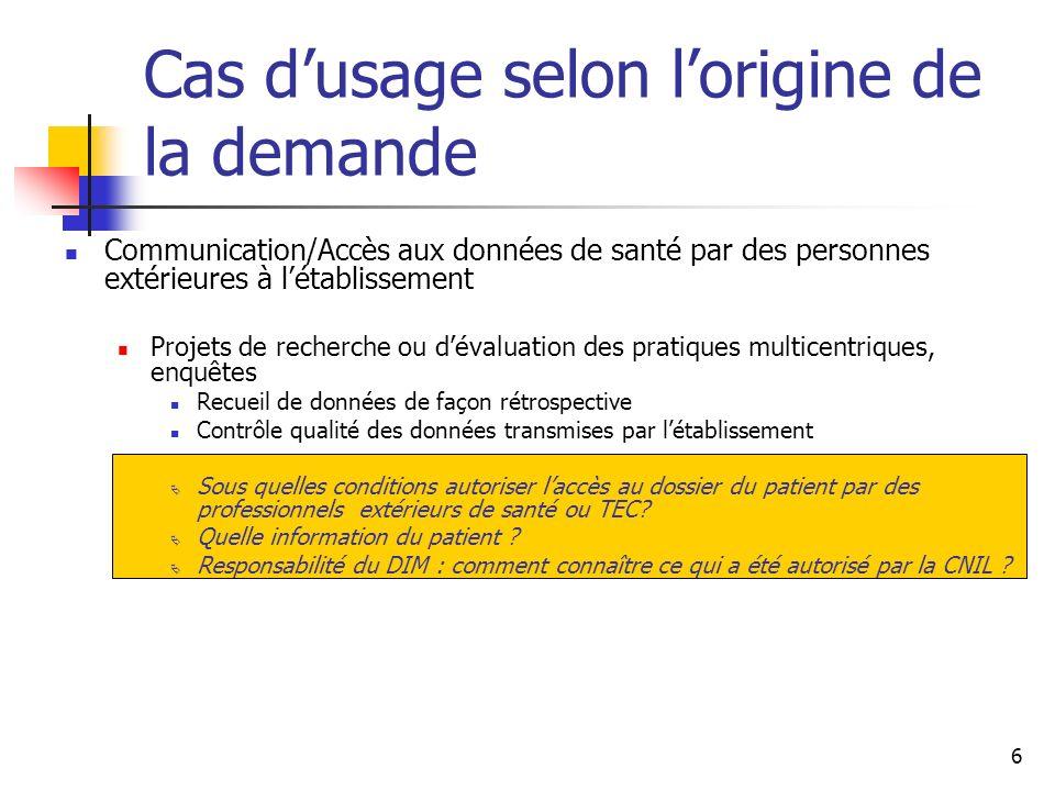 6 Cas dusage selon lorigine de la demande Communication/Accès aux données de santé par des personnes extérieures à létablissement Projets de recherche