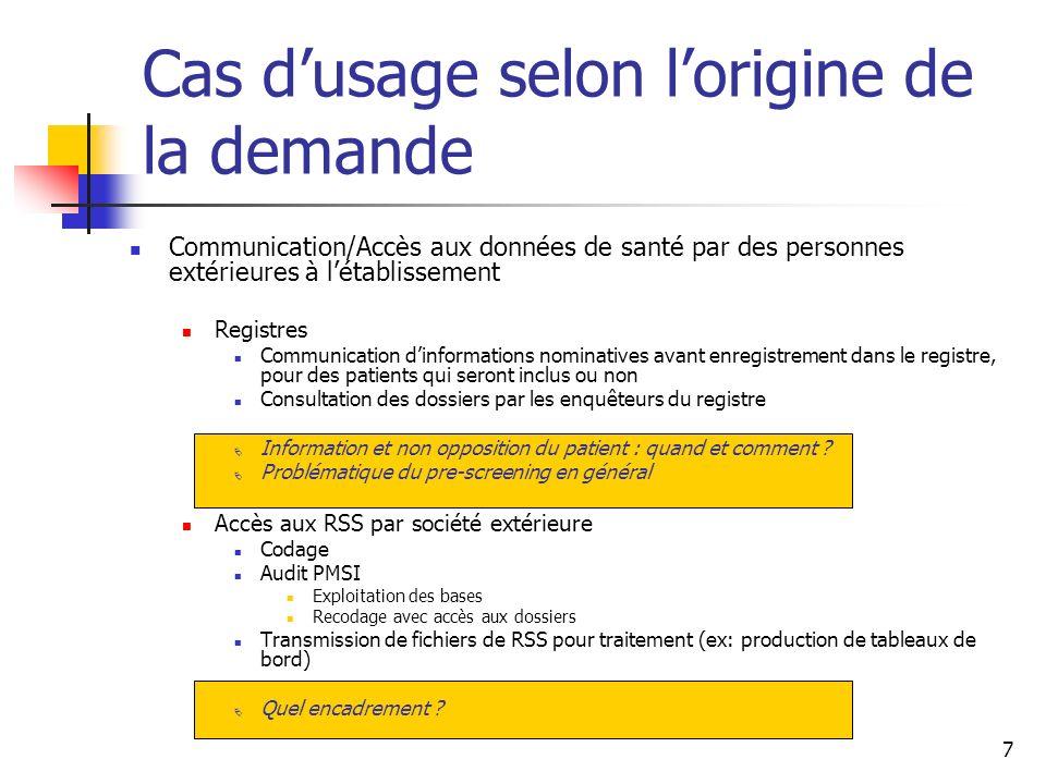 7 Cas dusage selon lorigine de la demande Communication/Accès aux données de santé par des personnes extérieures à létablissement Registres Communicat