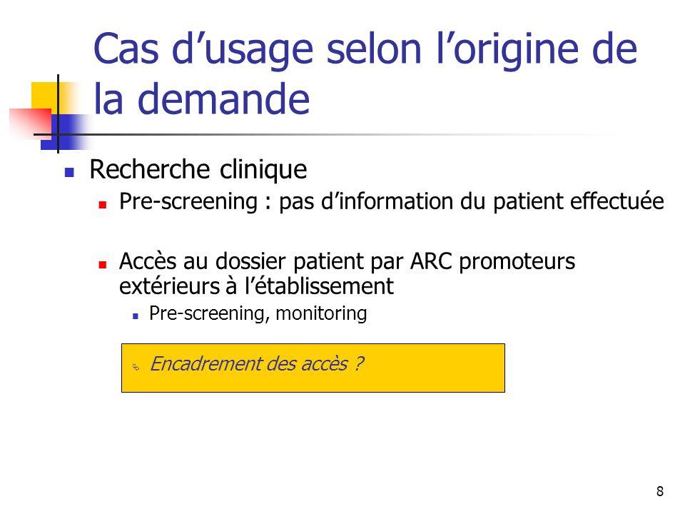 8 Cas dusage selon lorigine de la demande Recherche clinique Pre-screening : pas dinformation du patient effectuée Accès au dossier patient par ARC pr