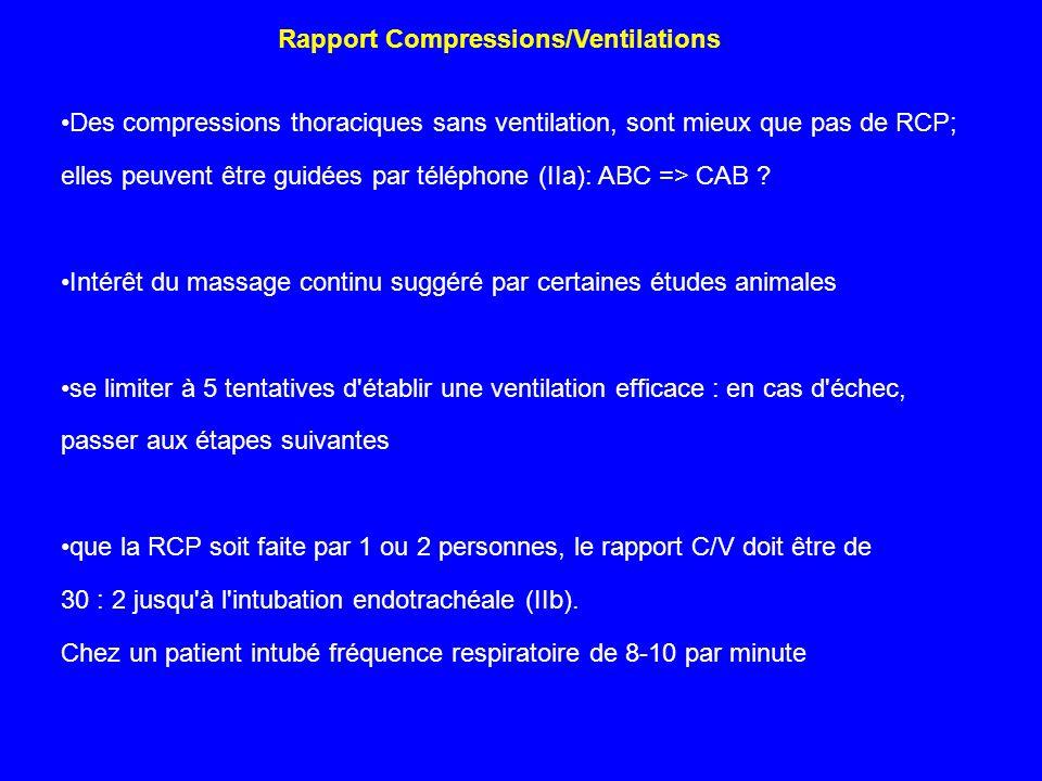 Des compressions thoraciques sans ventilation, sont mieux que pas de RCP; elles peuvent être guidées par téléphone (IIa): ABC => CAB ? Intérêt du mass