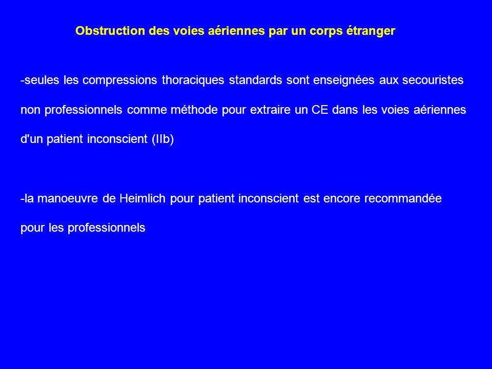 -seules les compressions thoraciques standards sont enseignées aux secouristes non professionnels comme méthode pour extraire un CE dans les voies aér