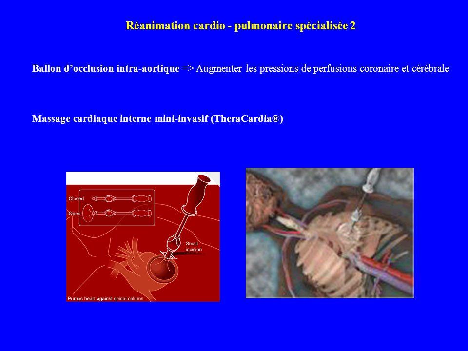 Ballon docclusion intra-aortique => Augmenter les pressions de perfusions coronaire et cérébrale Massage cardiaque interne mini-invasif (TheraCardia®)