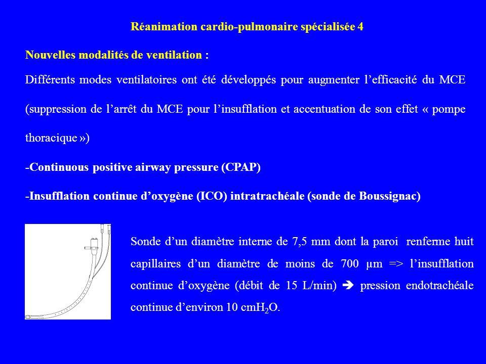 Réanimation cardio-pulmonaire spécialisée 4 Nouvelles modalités de ventilation : Différents modes ventilatoires ont été développés pour augmenter leff