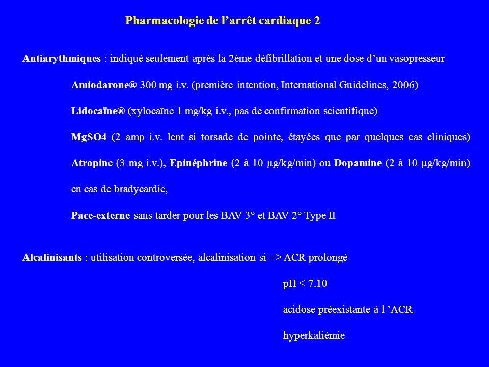 Antiarythmiques : indiqué seulement après la 2éme défibrillation et une dose dun vasopresseur Amiodarone® 300 mg i.v. (première intention, Internation