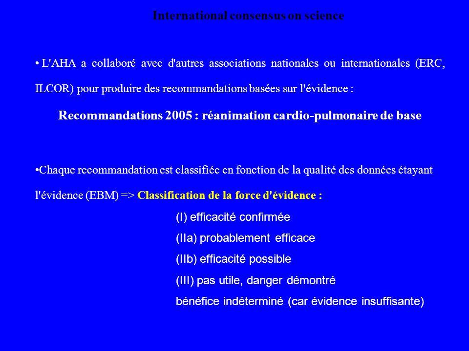 L'AHA a collaboré avec d'autres associations nationales ou internationales (ERC, ILCOR) pour produire des recommandations basées sur l'évidence : Reco
