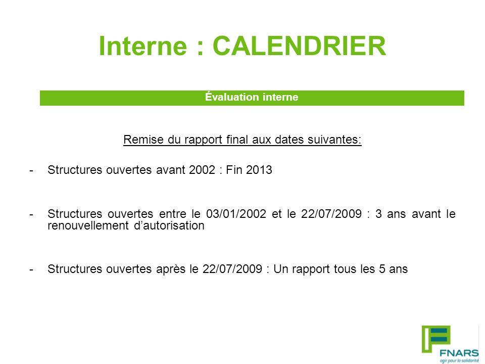 Externe : CALENDRIER Remise du rapport final aux dates suivantes: -Structures ouvertes avant 2002 : Fin 2014 -Structures ouvertes entre le 03/01/2002 et le 22/07/2009 : 2 ans avant la date de renouvellement de lautorisation -Structures ouvertes après le 22/07/2009 : 2 évaluations à réaliser au plus tard : 7 ans après la date de lautorisation, pour la première 2 ans avant la date de son renouvellement, pour la seconde Évaluation externe