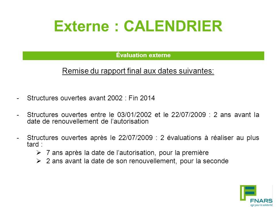 Externe : CALENDRIER Remise du rapport final aux dates suivantes: -Structures ouvertes avant 2002 : Fin 2014 -Structures ouvertes entre le 03/01/2002
