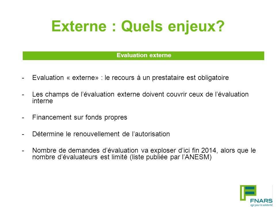 Externe : Quels enjeux? -Evaluation « externe» : le recours à un prestataire est obligatoire -Les champs de lévaluation externe doivent couvrir ceux d