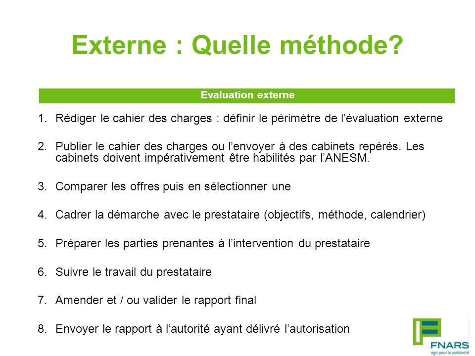 Externe : Quelle méthode? 1.Rédiger le cahier des charges : définir le périmètre de lévaluation externe 2.Publier le cahier des charges ou lenvoyer à