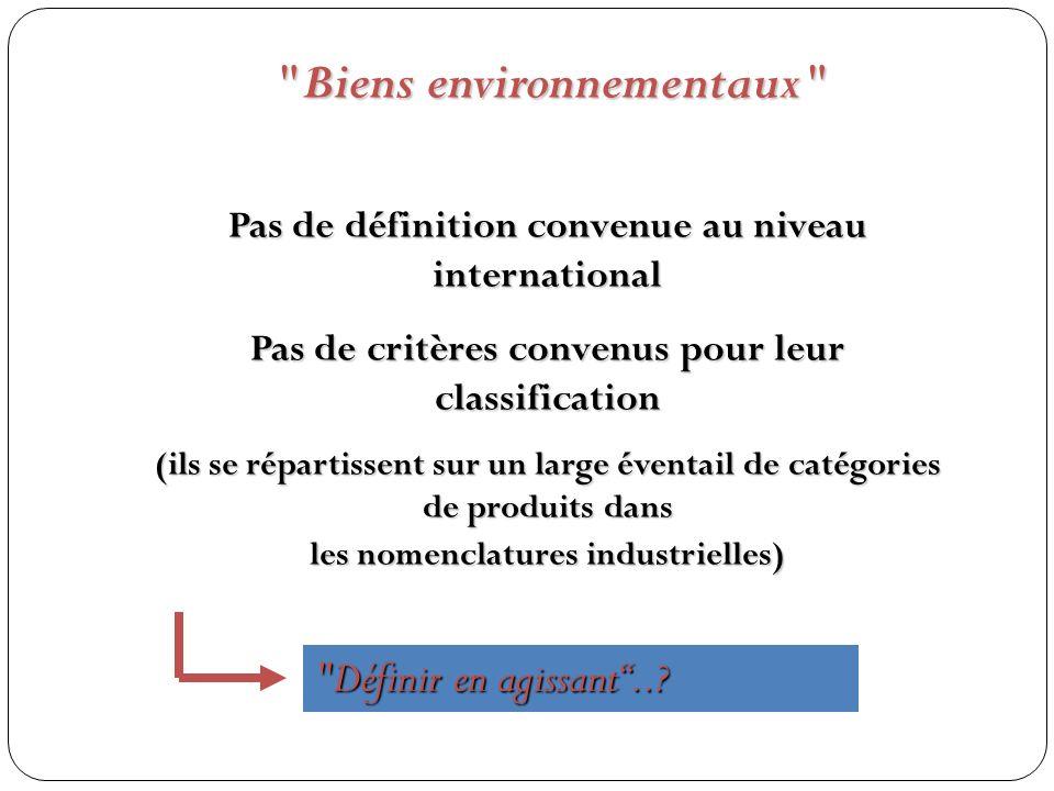 Pas de définition convenue au niveau international Pas de critères convenus pour leur classification (ils se répartissent sur un large éventail de catégories de produits dans les nomenclatures industrielles) Biens environnementaux Définir en agissant..