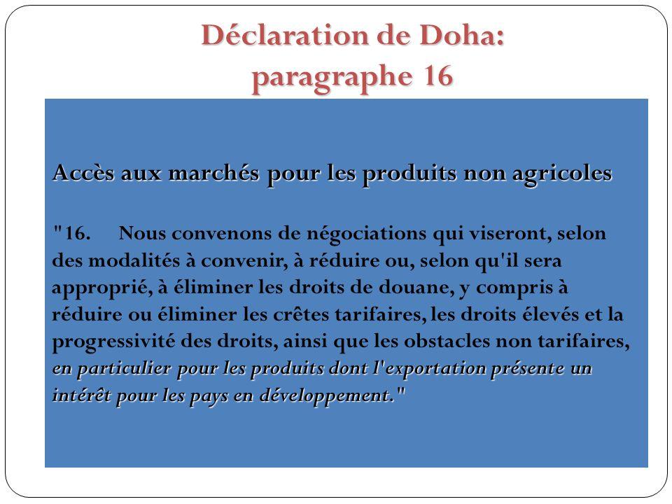 Déclaration de Doha: paragraphe 16 Accès aux marchés pour les produits non agricoles en particulier pour les produits dont l exportation présente un intérêt pour les pays en développement. 16.Nous convenons de négociations qui viseront, selon des modalités à convenir, à réduire ou, selon qu il sera approprié, à éliminer les droits de douane, y compris à réduire ou éliminer les crêtes tarifaires, les droits élevés et la progressivité des droits, ainsi que les obstacles non tarifaires, en particulier pour les produits dont l exportation présente un intérêt pour les pays en développement.
