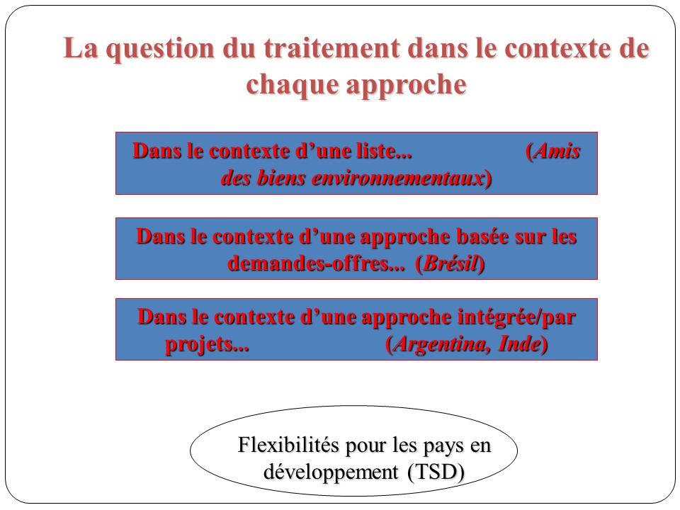 La question du traitement dans le contexte de chaque approche Dans le contexte dune liste...