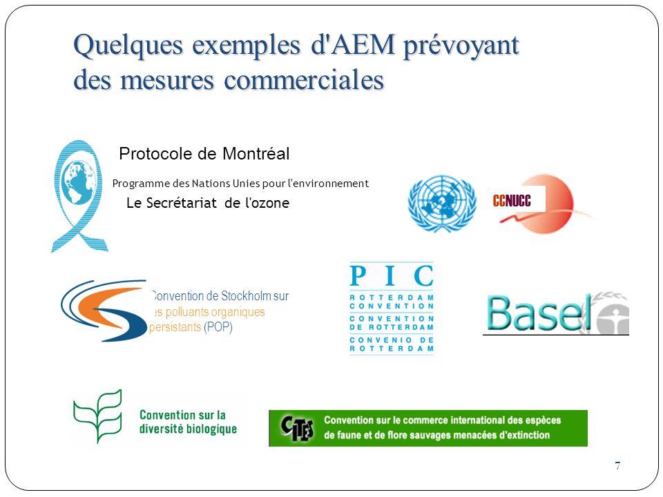 7 Quelques exemples d AEM prévoyant des mesures commerciales Protocole de Montréal Programme des Nations Unies pour l environnement Le Secrétariat de l ozone CCNUCC Convention de Stockholm sur les polluants organiques persistants (POP)