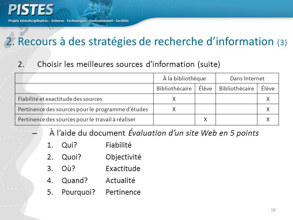 18 2.Choisir les meilleures sources d information (suite) – À laide du document Évaluation dun site Web en 5 points 1.Qui.