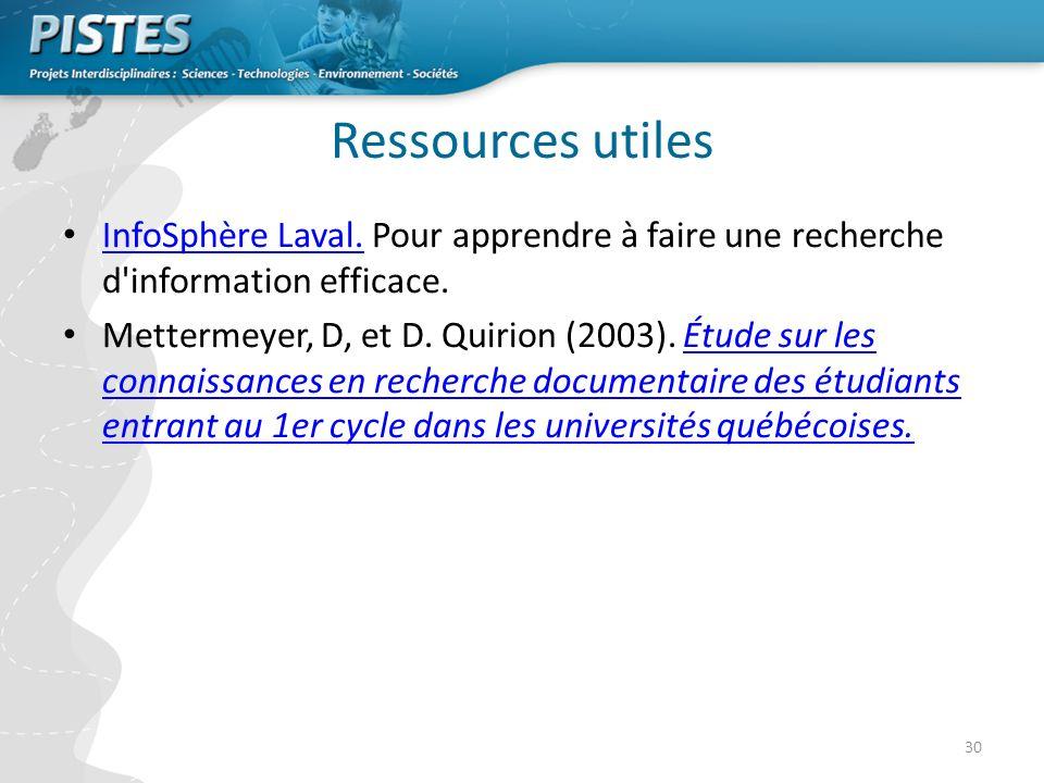30 Ressources utiles InfoSphère Laval.Pour apprendre à faire une recherche d information efficace.