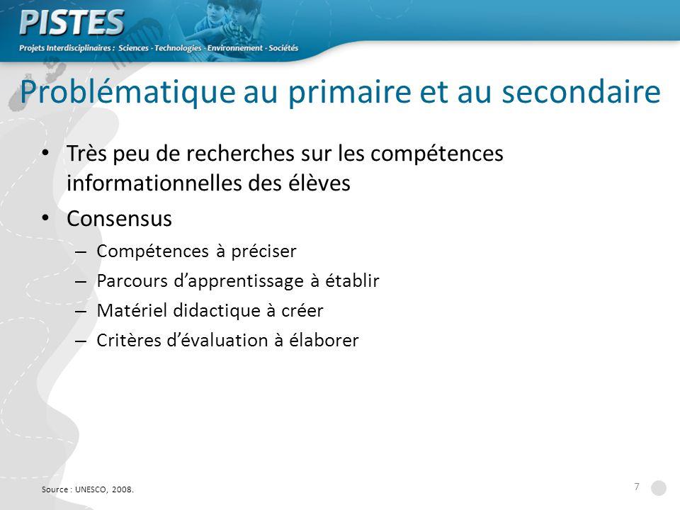 7 Problématique au primaire et au secondaire Très peu de recherches sur les compétences informationnelles des élèves Consensus – Compétences à préciser – Parcours dapprentissage à établir – Matériel didactique à créer – Critères dévaluation à élaborer Source : UNESCO, 2008.