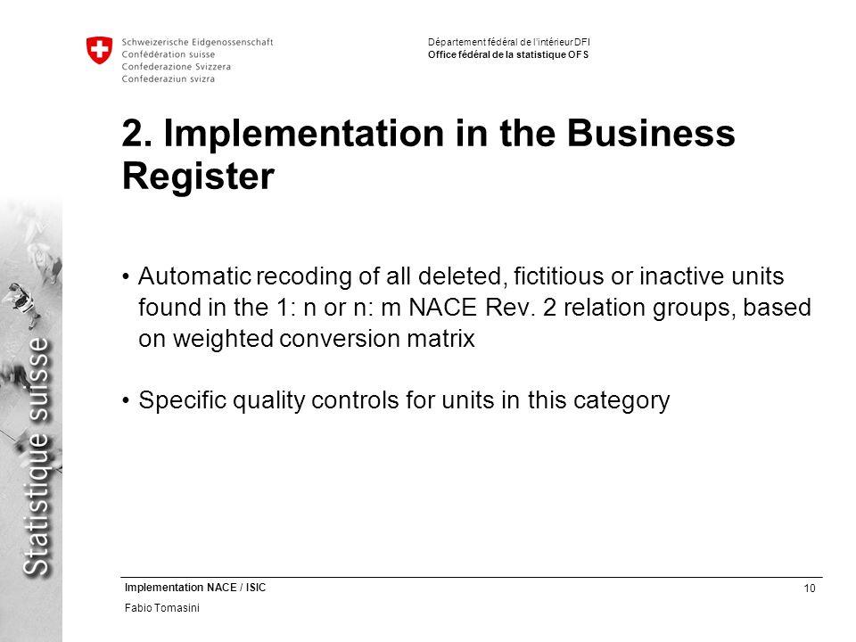 10 Implementation NACE / ISIC Fabio Tomasini Département fédéral de lintérieur DFI Office fédéral de la statistique OFS 2.