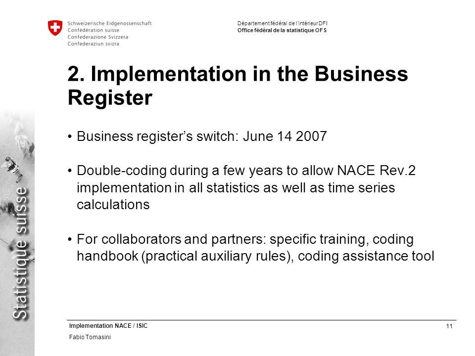 11 Implementation NACE / ISIC Fabio Tomasini Département fédéral de lintérieur DFI Office fédéral de la statistique OFS 2.