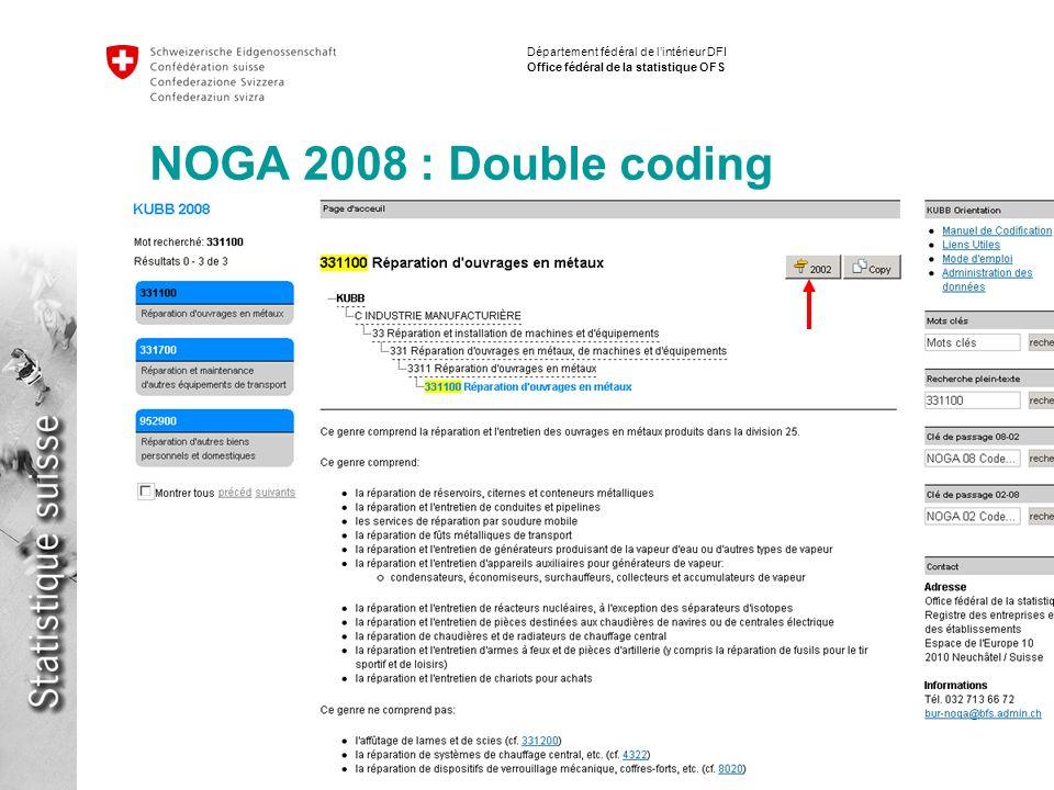14 Implementation NACE / ISIC Fabio Tomasini Département fédéral de lintérieur DFI Office fédéral de la statistique OFS NOGA 2008 : Double coding
