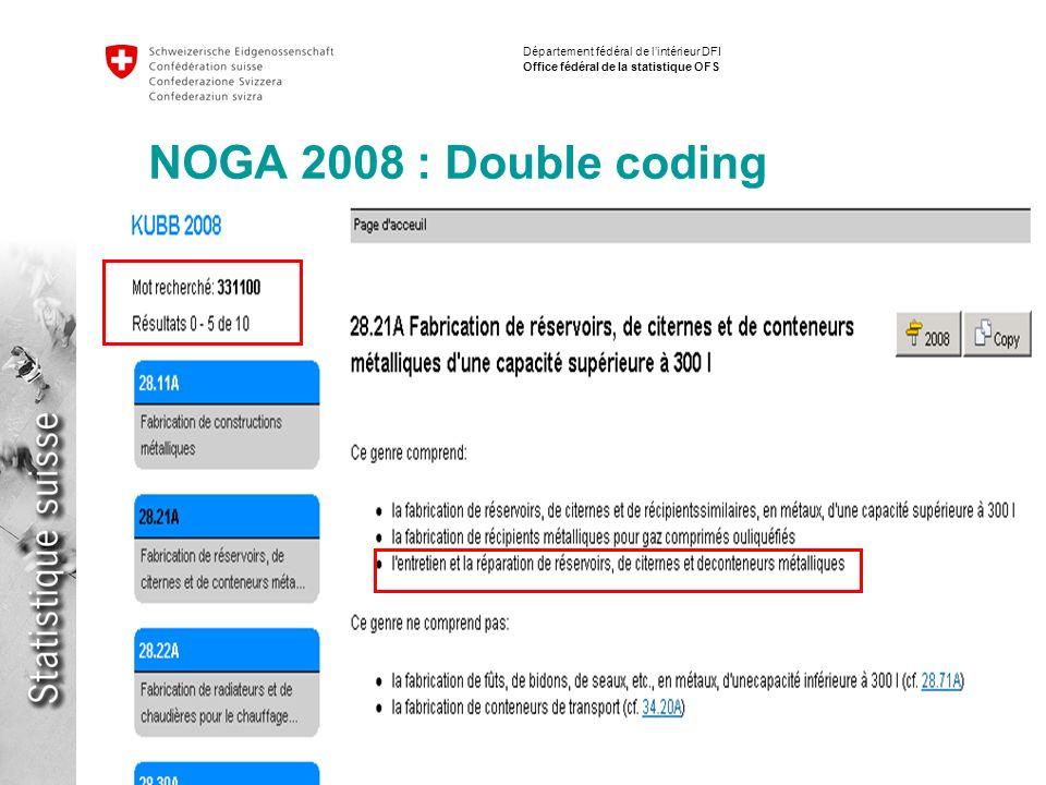 15 Implementation NACE / ISIC Fabio Tomasini Département fédéral de lintérieur DFI Office fédéral de la statistique OFS NOGA 2008 : Double coding