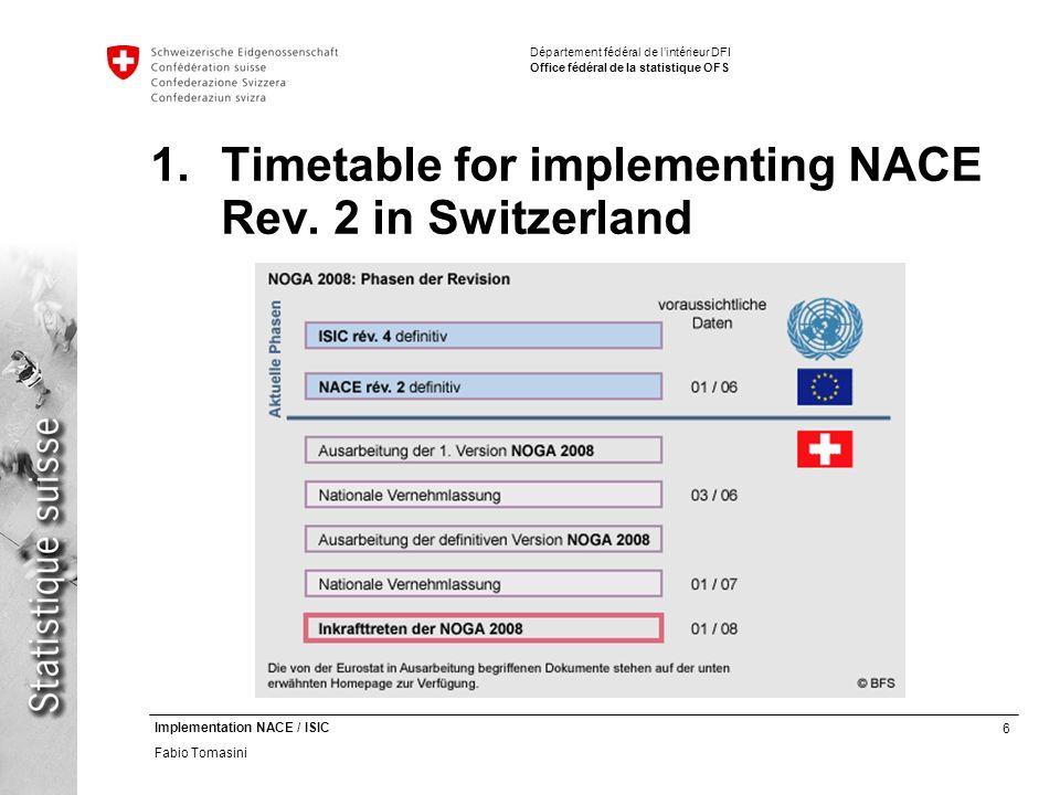 6 Implementation NACE / ISIC Fabio Tomasini Département fédéral de lintérieur DFI Office fédéral de la statistique OFS 1.Timetable for implementing NACE Rev.