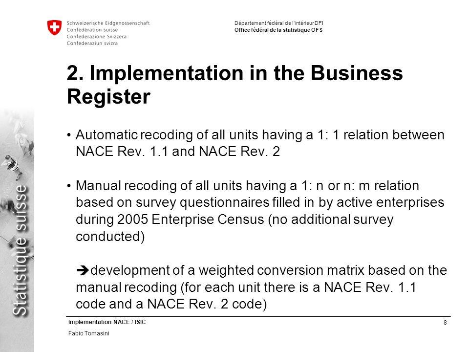 8 Implementation NACE / ISIC Fabio Tomasini Département fédéral de lintérieur DFI Office fédéral de la statistique OFS 2.