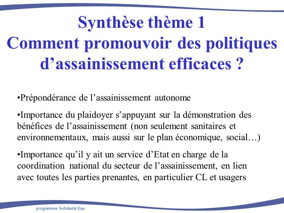 programme Solidarité Eau Synthèse thème 1 Comment promouvoir des politiques dassainissement efficaces ? Prépondérance de lassainissement autonome Impo