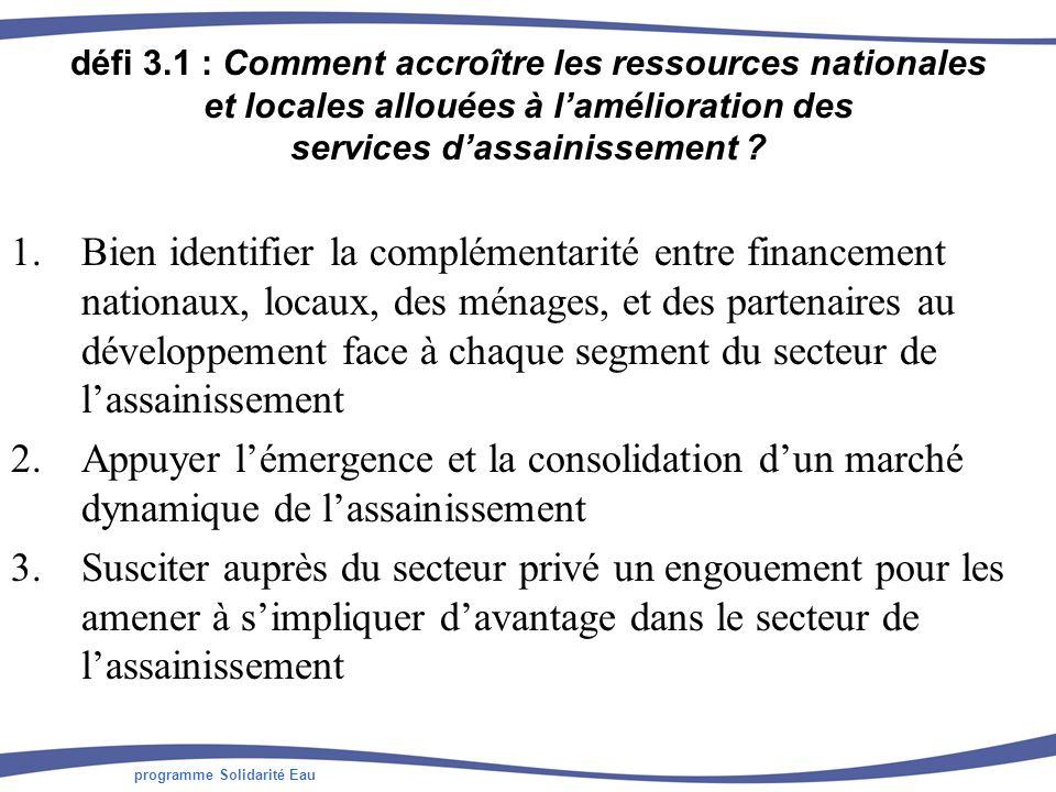 programme Solidarité Eau défi 3.1 : Comment accroître les ressources nationales et locales allouées à lamélioration des services dassainissement .