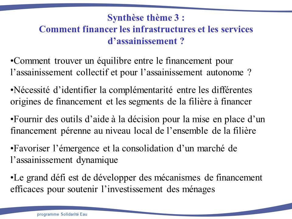 programme Solidarité Eau Synthèse thème 3 : Comment financer les infrastructures et les services dassainissement ? Comment trouver un équilibre entre