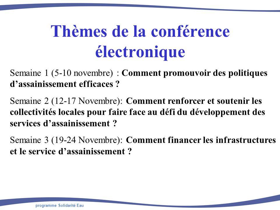 programme Solidarité Eau Participants à la conférence électronique 100 participants inscrits 49 contributions par 33 contributeurs (1/3 des inscrits) Représentants des ONG, des bureaux détudes, des collectivités locales, des organismes de recherche, des États, mais aussi des institutions bi- et multi-latérales 2/3 des contributeurs dAfrique ; 1/3 dEurope Dialoguant directement en français ou en anglais