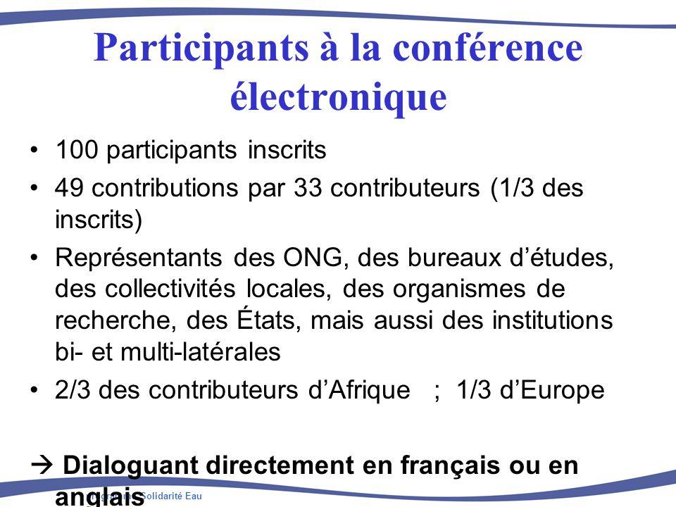 programme Solidarité Eau Participants à la conférence électronique 100 participants inscrits 49 contributions par 33 contributeurs (1/3 des inscrits)