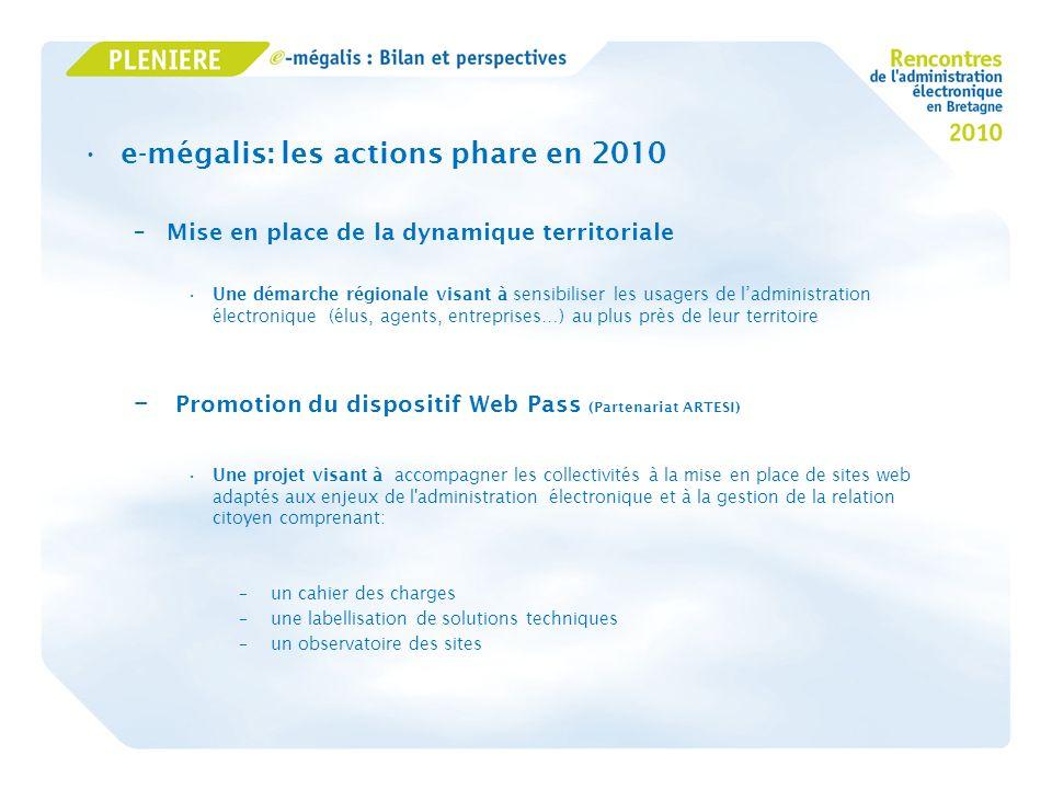 e-mégalis: les actions phare en 2010 –Mise en place de la dynamique territoriale Une démarche régionale visant à sensibiliser les usagers de ladminist