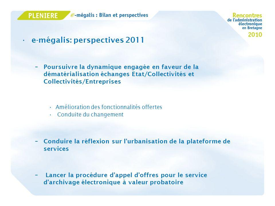 e-mégalis: perspectives 2011 –Poursuivre la dynamique engagée en faveur de la dématérialisation échanges Etat/Collectivités et Collectivités/Entrepris