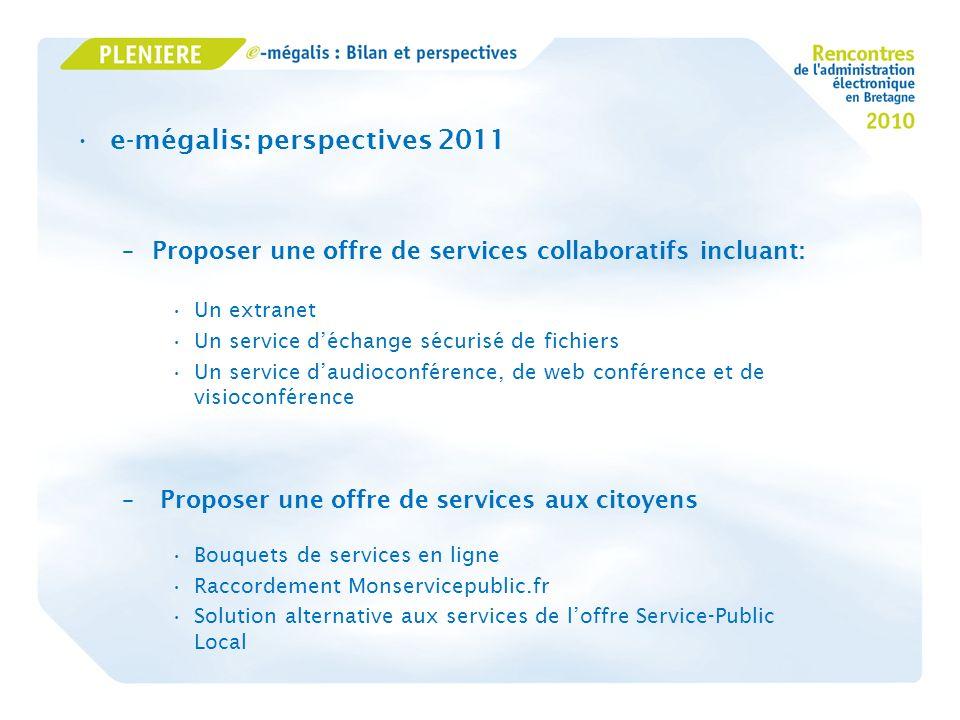 e-mégalis: perspectives 2011 –Proposer une offre de services collaboratifs incluant: Un extranet Un service déchange sécurisé de fichiers Un service d