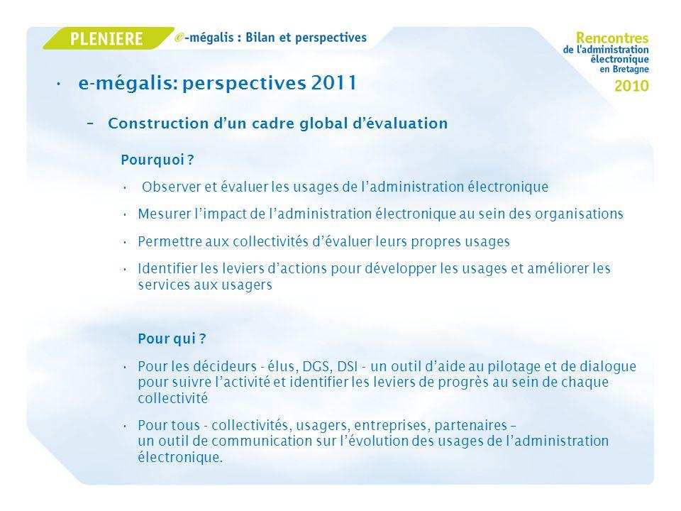 e-mégalis: perspectives 2011 –Construction dun cadre global dévaluation Pourquoi ? Observer et évaluer les usages de ladministration électronique Mesu