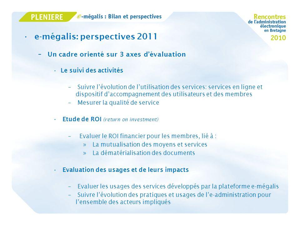 e-mégalis: perspectives 2011 –Un cadre orienté sur 3 axes dévaluation Le suivi des activités – Suivre lévolution de lutilisation des services: service