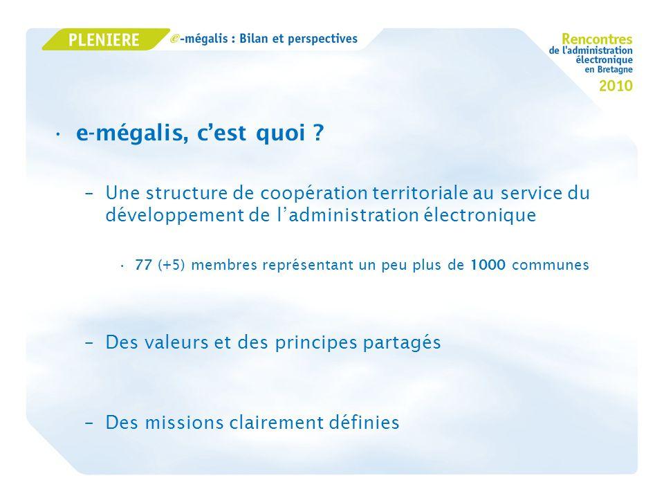 e-mégalis, cest quoi ? –Une structure de coopération territoriale au service du développement de ladministration électronique 77 (+5) membres représen