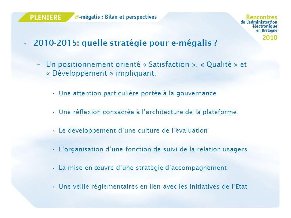 2010-2015: quelle stratégie pour e-mégalis ? –Un positionnement orienté « Satisfaction », « Qualité » et « Développement » impliquant: Une attention p