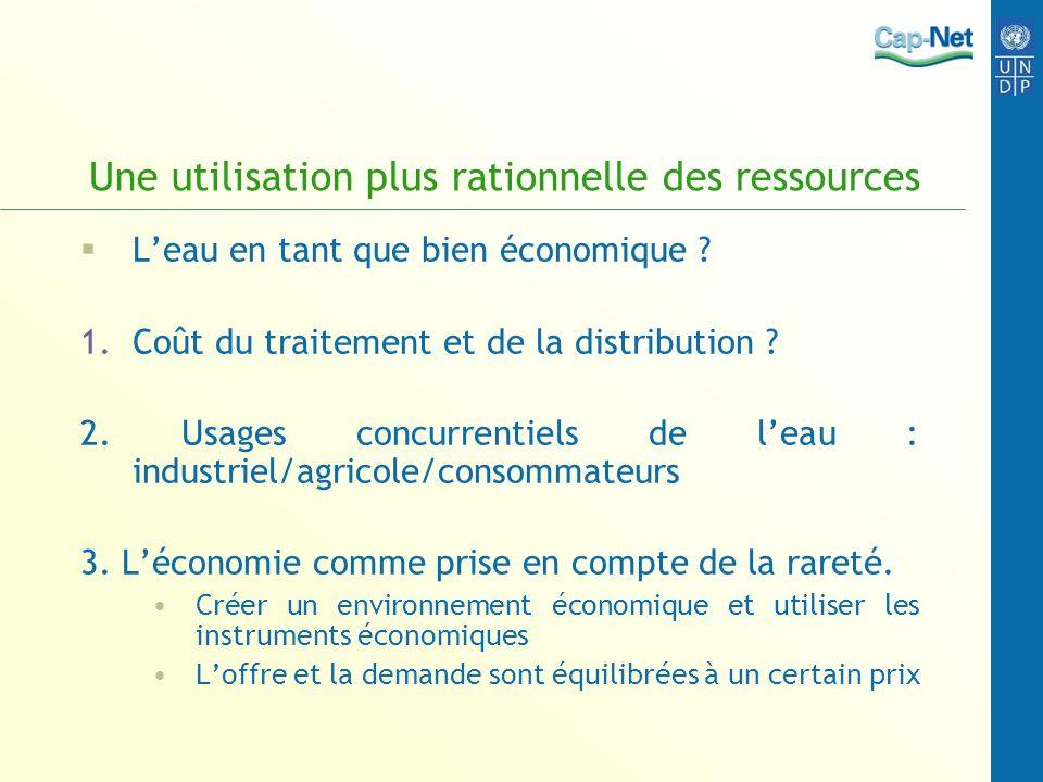 Une utilisation plus rationnelle des ressources Leau en tant que bien économique ? 1.Coût du traitement et de la distribution ? 2. Usages concurrentie