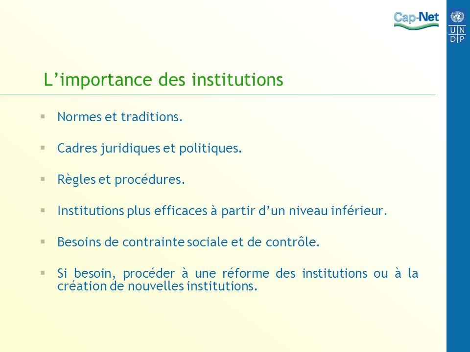 Limportance des institutions Normes et traditions. Cadres juridiques et politiques. Règles et procédures. Institutions plus efficaces à partir dun niv