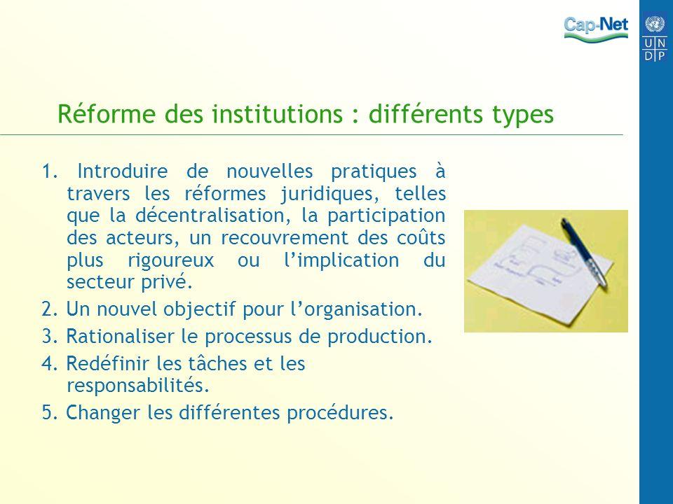 Réforme des institutions : différents types 1. Introduire de nouvelles pratiques à travers les réformes juridiques, telles que la décentralisation, la