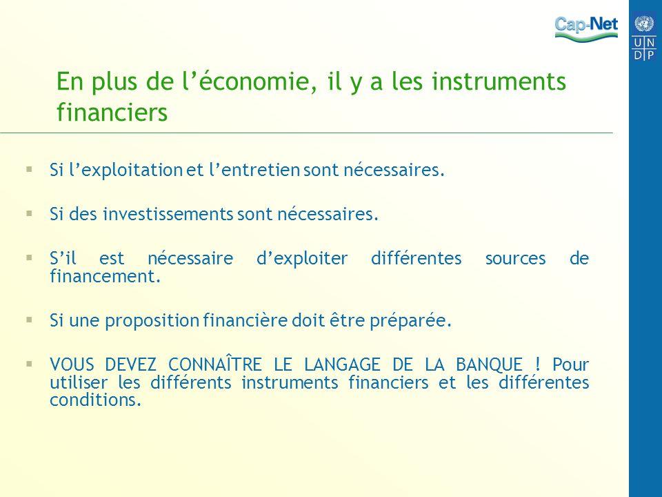 En plus de léconomie, il y a les instruments financiers Si lexploitation et lentretien sont nécessaires. Si des investissements sont nécessaires. Sil