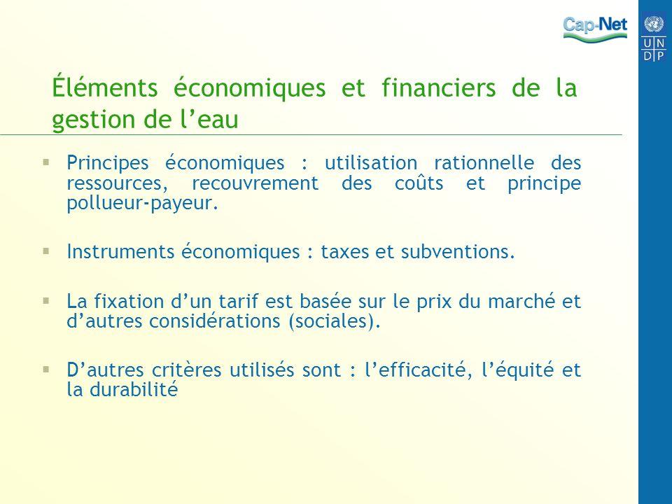 Éléments économiques et financiers de la gestion de leau Principes économiques : utilisation rationnelle des ressources, recouvrement des coûts et pri