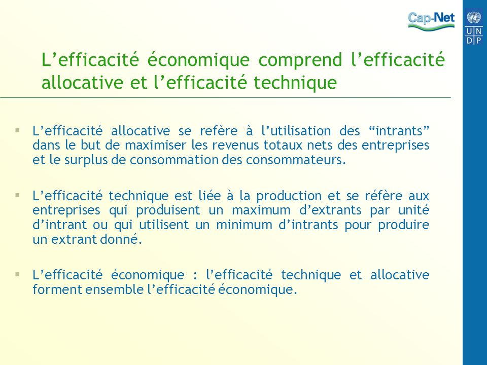 Lefficacité économique comprend lefficacité allocative et lefficacité technique Lefficacité allocative se refère à lutilisation des intrants dans le b