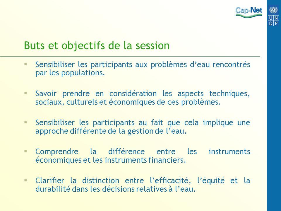 Buts et objectifs de la session Sensibiliser les participants aux problèmes deau rencontrés par les populations. Savoir prendre en considération les a